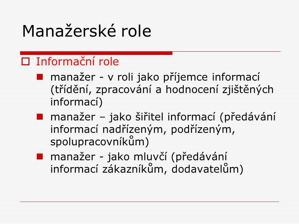 Manažerské role  Informační role manažer - v roli jako příjemce informací (třídění, zpracování a hodnocení zjištěných informací) manažer – jako šiřitel informací (předávání informací nadřízeným, podřízeným, spolupracovníkům) manažer - jako mluvčí (předávání informací zákazníkům, dodavatelům)
