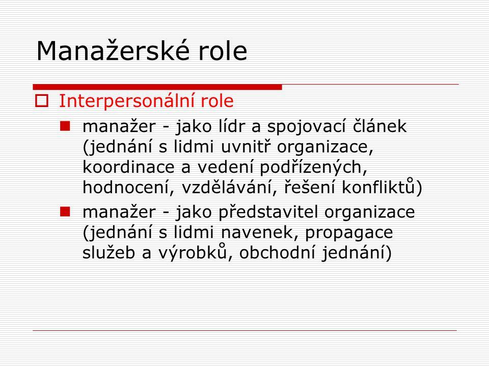 Manažerské role  Interpersonální role manažer - jako lídr a spojovací článek (jednání s lidmi uvnitř organizace, koordinace a vedení podřízených, hodnocení, vzdělávání, řešení konfliktů) manažer - jako představitel organizace (jednání s lidmi navenek, propagace služeb a výrobků, obchodní jednání)