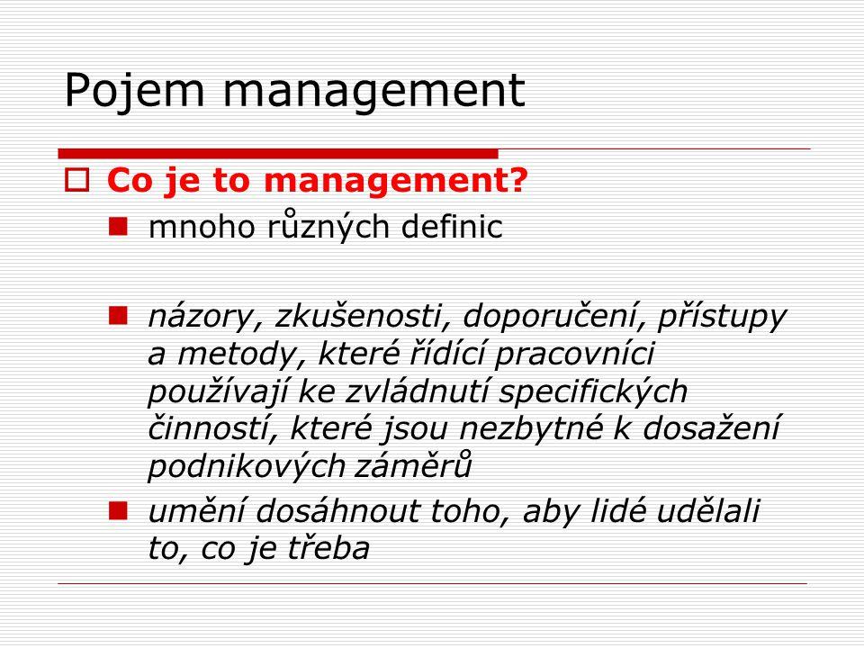 Pojem management  Pojem management zahrnuje:  specifickou funkci při řízení  způsob vedení lidí  vědní disciplínu - zasahuje do více oborů interdisciplinární charakter managementu  Obecné cíle managementu  tvorba hodnot  vysoká produktivita  úspěch na trhu  tvorba zisku