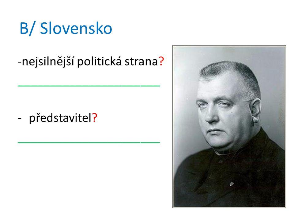 B/ Slovensko -nejsilnější politická strana. ______________________ -představitel.