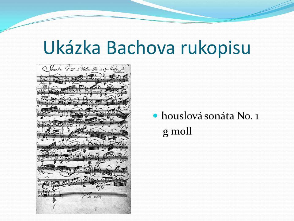 Ukázka Bachova rukopisu houslová sonáta No. 1 g moll