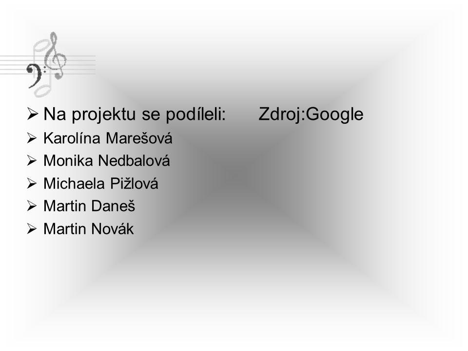  Na projektu se podíleli: Zdroj:Google  Karolína Marešová  Monika Nedbalová  Michaela Pižlová  Martin Daneš  Martin Novák