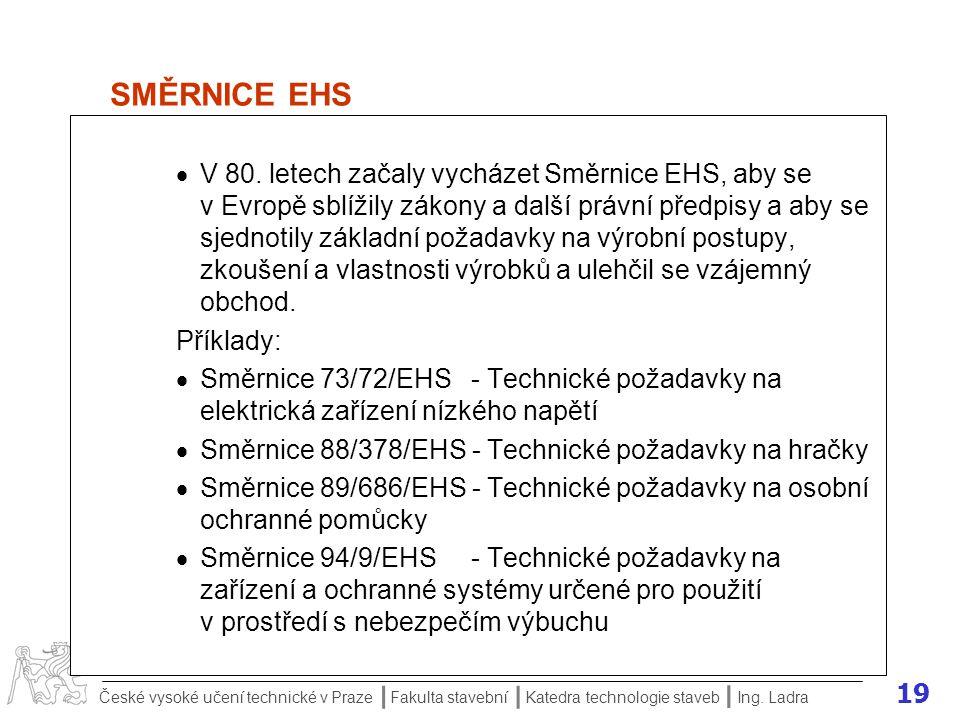19 České vysoké učení technické v Praze Fakulta stavební Katedra technologie staveb II I Ing. Ladra SMĚRNICE EHS  V 80. letech začaly vycházet Směrni