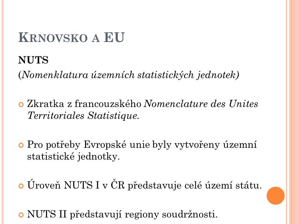 K RNOVSKO A EU NUTS ( Nomenklatura územních statistických jednotek) Zkratka z francouzského Nomenclature des Unites Territoriales Statistique.