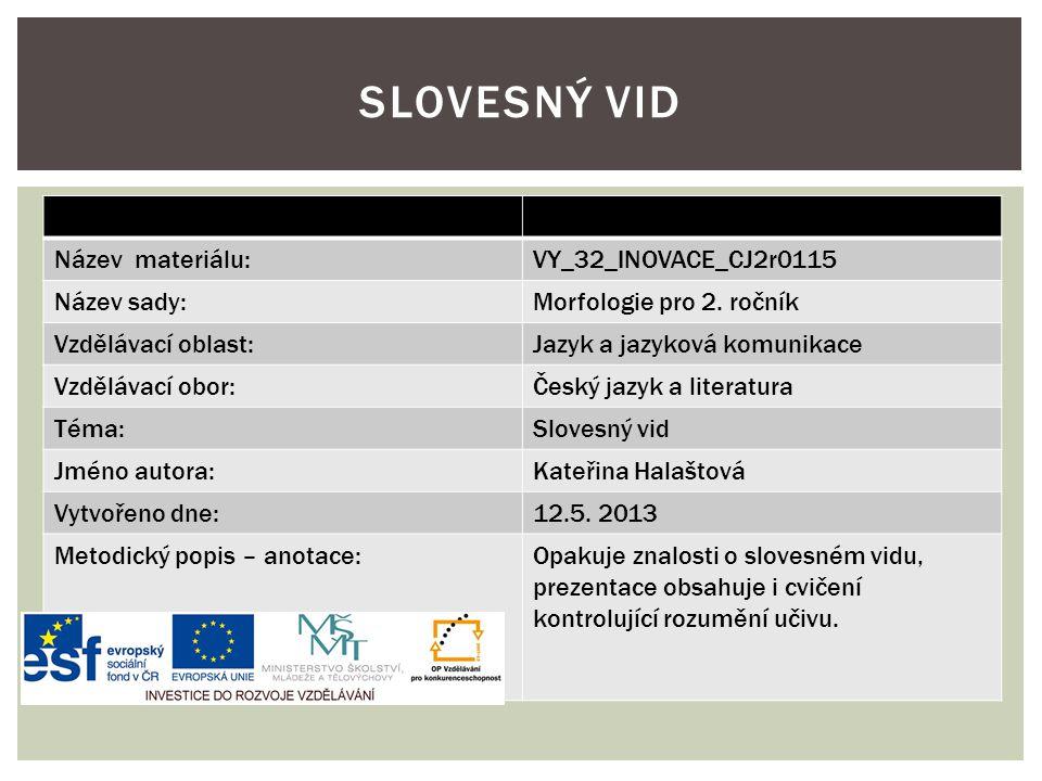Název materiálu:VY_32_INOVACE_CJ2r0115 Název sady:Morfologie pro 2. ročník Vzdělávací oblast:Jazyk a jazyková komunikace Vzdělávací obor:Český jazyk a