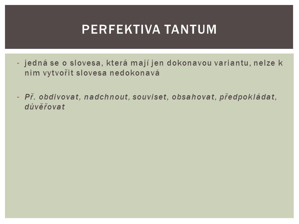 Nemají prézens a futurum je vyjádřeno jednoduchým tvarem: Préteritum: uslyšel jsem Prézens: X Futurum: uslyším PERFEKTIVA