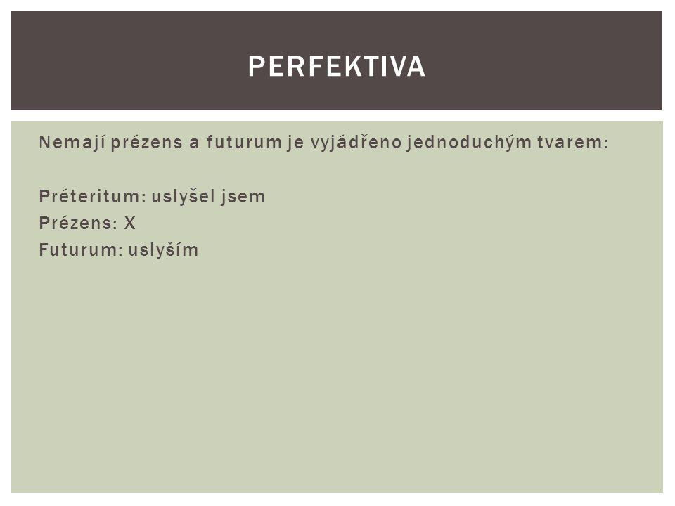Vyskytují se ve všech časech, futurum je vyjádřeno složeným tvarem: Préteritum: slyšel jsem Prézens: slyším Futuurm: budu slyšet IMPERFEKTIVA