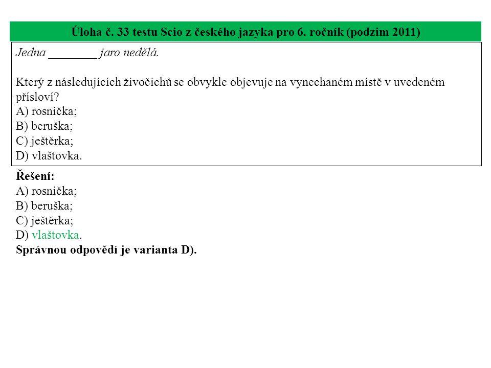 Úloha č.33 testu Scio z českého jazyka pro 6.