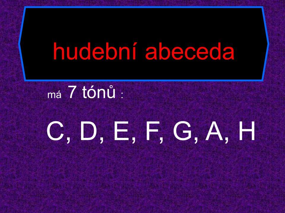 hudební abeceda má 7 tónů : C, D, E, F, G, A, H