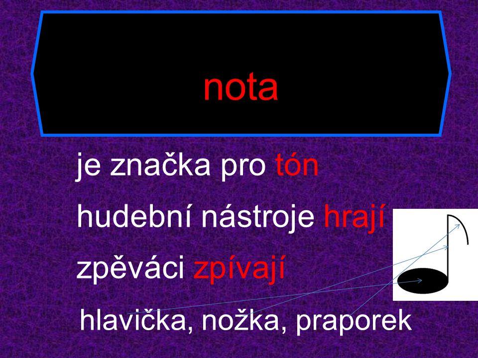 nota je značka pro tón hudební nástroje hrají zpěváci zpívají hlavička, nožka, praporek