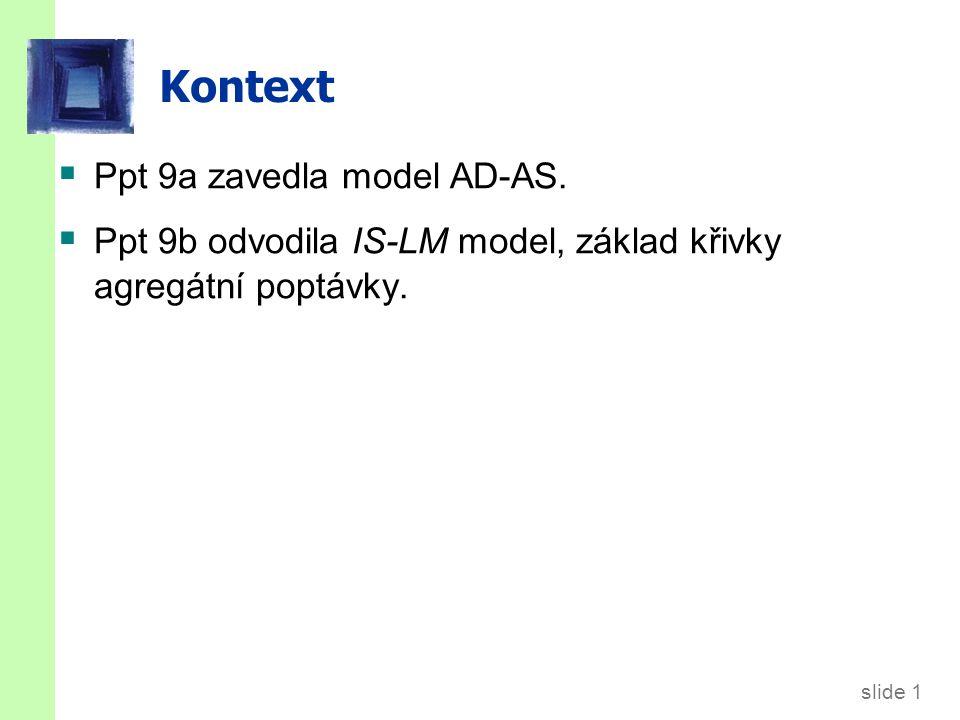 slide 1 Kontext  Ppt 9a zavedla model AD-AS.  Ppt 9b odvodila IS-LM model, základ křivky agregátní poptávky.