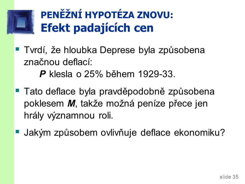 slide 35 PENĚŽNÍ HYPOTÉZA ZNOVU: Efekt padajících cen  Tvrdí, že hloubka Deprese byla způsobena značnou deflací: P klesla o 25% během 1929-33.