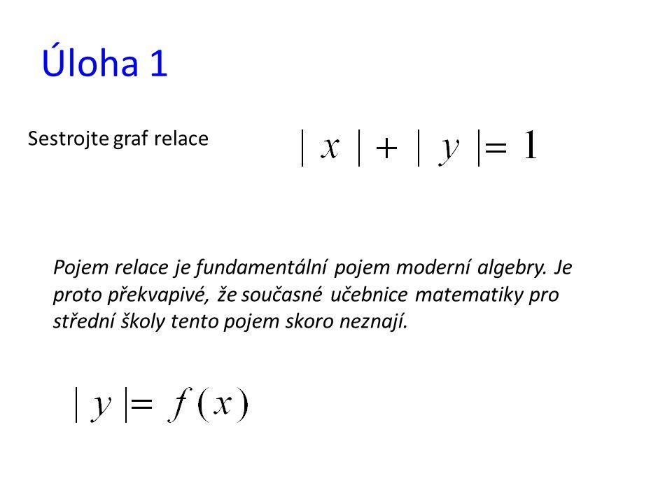 Úloha 1 Sestrojte graf relace Pojem relace je fundamentální pojem moderní algebry. Je proto překvapivé, že současné učebnice matematiky pro střední šk
