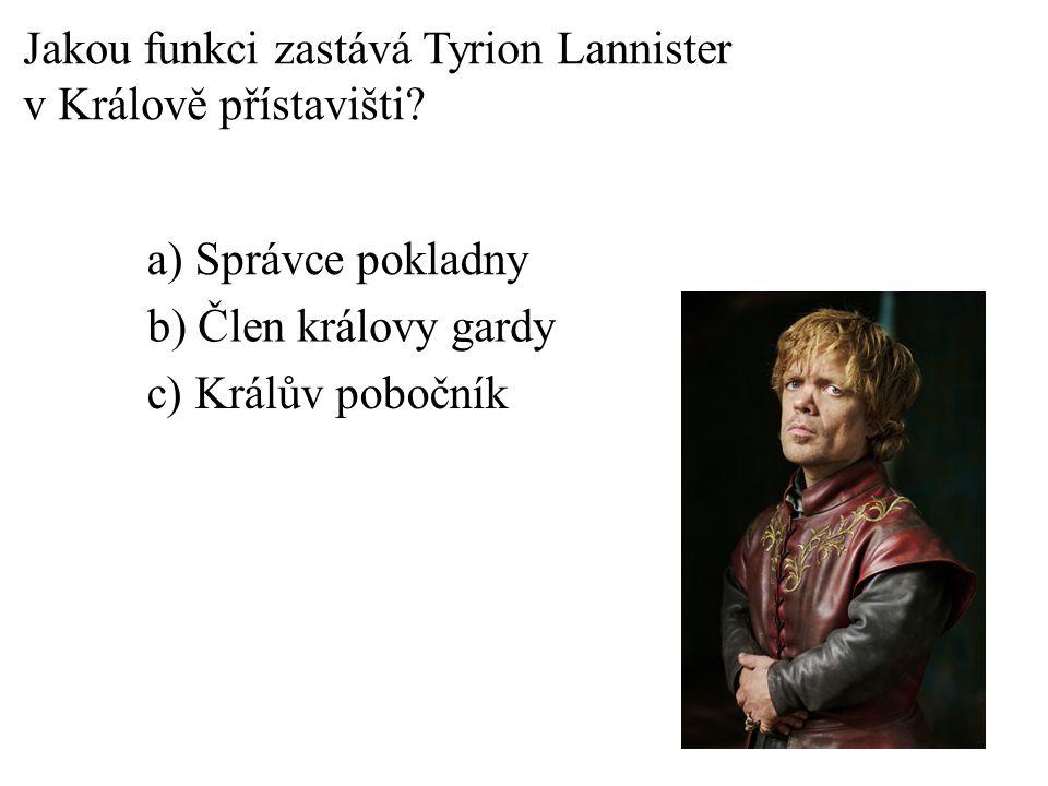 a) Skřet b) Muž beze cti c) Mladý vlk Jak se přezdívá Robbu Starkovi?
