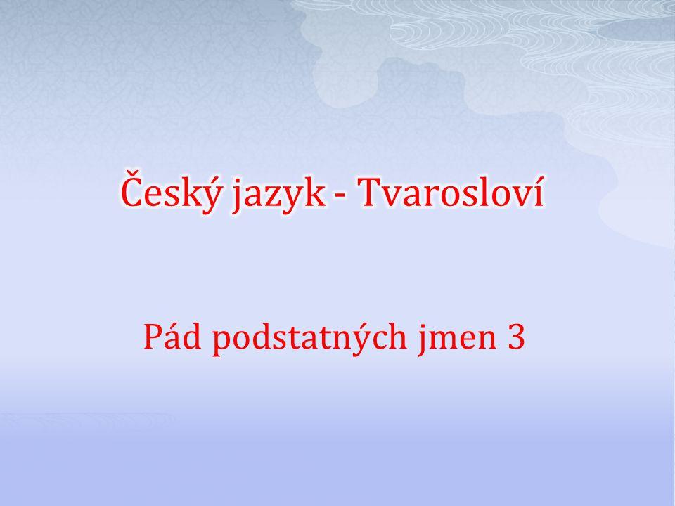Číslo v digitálním archivu školyVY_32_INOVACE_TVAR_04 Sada DUMTvarosloví Předmět Český jazyk Název materiáluPád podstatných jmen 3 Anotace Žáci v jedn