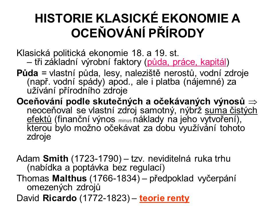 HISTORIE KLASICKÉ EKONOMIE A OCEŇOVÁNÍ PŘÍRODY Klasická politická ekonomie 18. a 19. st. – tři základní výrobní faktory (půda, práce, kapitál) Půda =