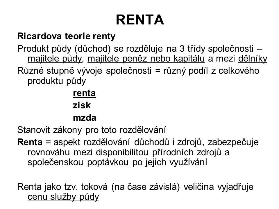 RENTA Ricardova teorie renty Produkt půdy (důchod) se rozděluje na 3 třídy společnosti – majitele půdy, majitele peněz nebo kapitálu a mezi dělníky Rů