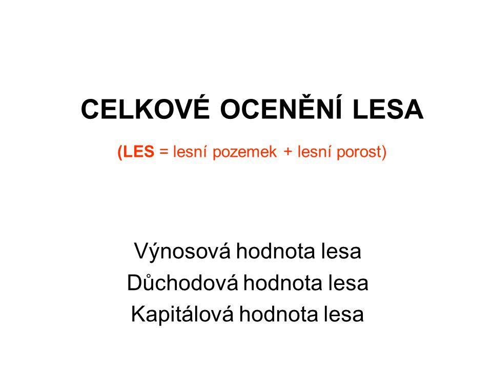 CELKOVÉ OCENĚNÍ LESA (LES = lesní pozemek + lesní porost) Výnosová hodnota lesa Důchodová hodnota lesa Kapitálová hodnota lesa