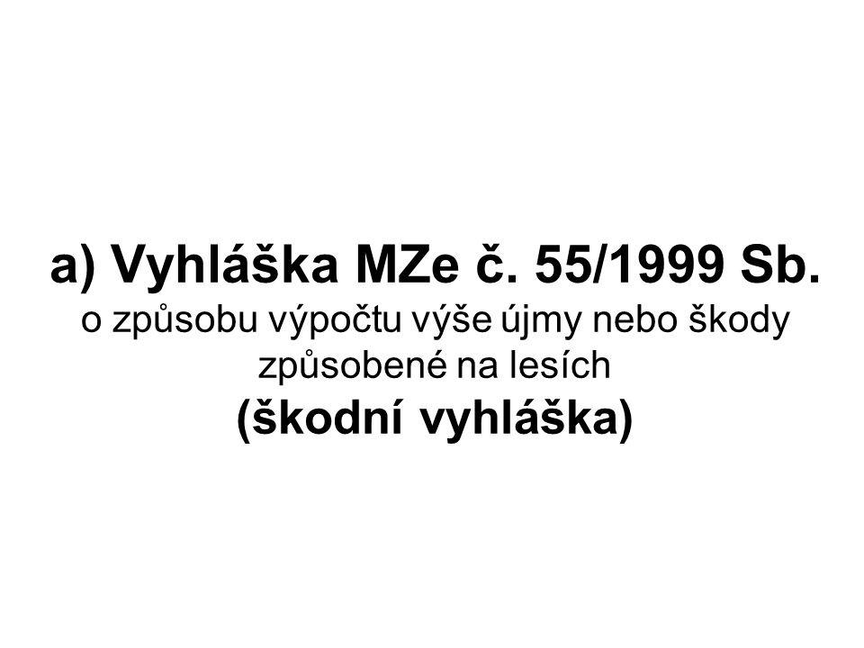 a) Vyhláška MZe č. 55/1999 Sb. o způsobu výpočtu výše újmy nebo škody způsobené na lesích (škodní vyhláška)