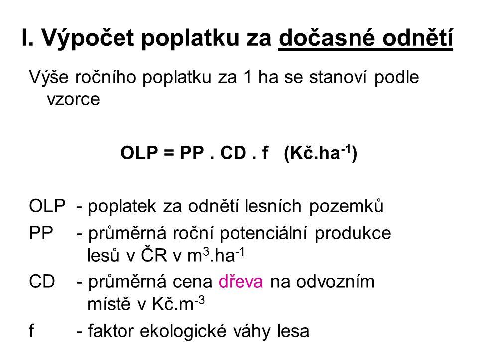 I. Výpočet poplatku za dočasné odnětí Výše ročního poplatku za 1 ha se stanoví podle vzorce OLP = PP. CD. f (Kč.ha -1 ) OLP - poplatek za odnětí lesní