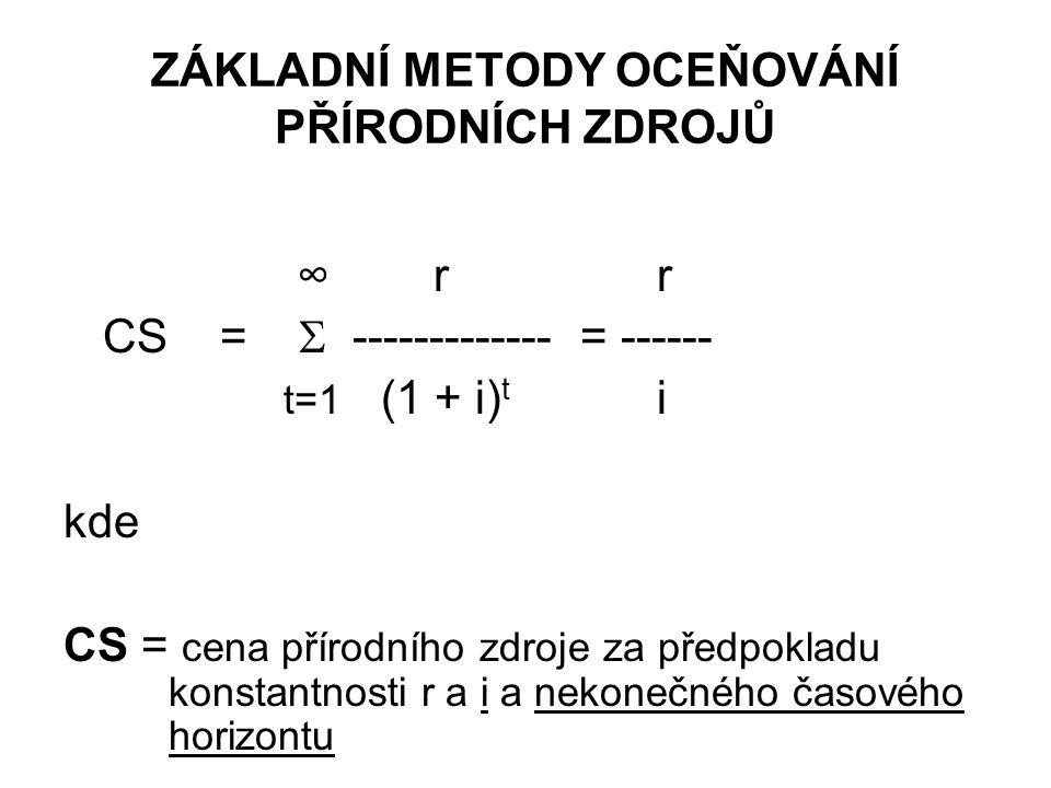 ZÁKLADNÍ METODY OCEŇOVÁNÍ PŘÍRODNÍCH ZDROJŮ ∞ r r CS =  ------------- = ------ t=1 (1 + i) t i kde CS = cena přírodního zdroje za předpokladu konstan