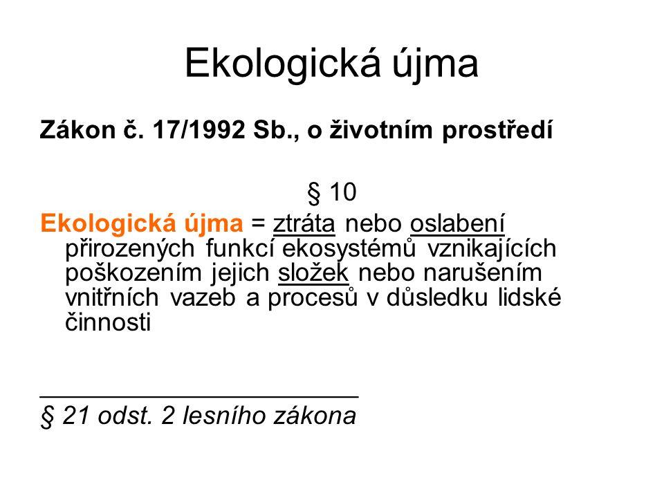 Ekologická újma Zákon č. 17/1992 Sb., o životním prostředí § 10 Ekologická újma = ztráta nebo oslabení přirozených funkcí ekosystémů vznikajících pošk