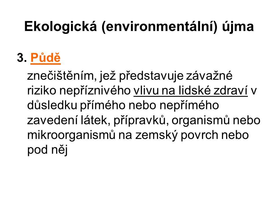 Ekologická (environmentální) újma 3. Půdě znečištěním, jež představuje závažné riziko nepříznivého vlivu na lidské zdraví v důsledku přímého nebo nepř