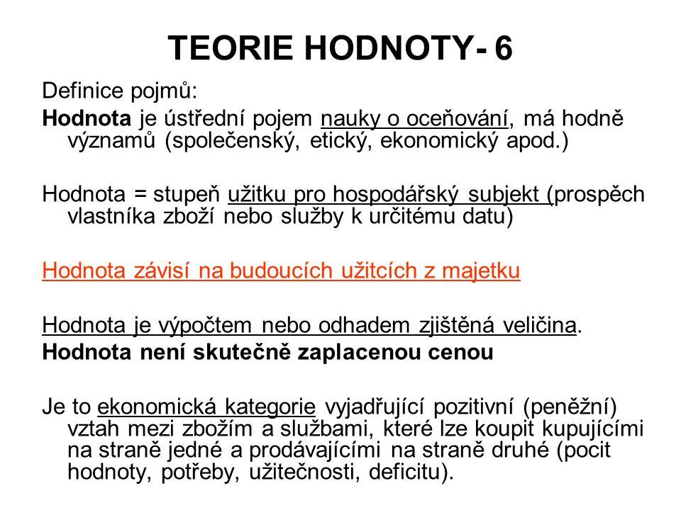 TEORIE HODNOTY- 6 Definice pojmů: Hodnota je ústřední pojem nauky o oceňování, má hodně významů (společenský, etický, ekonomický apod.) Hodnota = stup