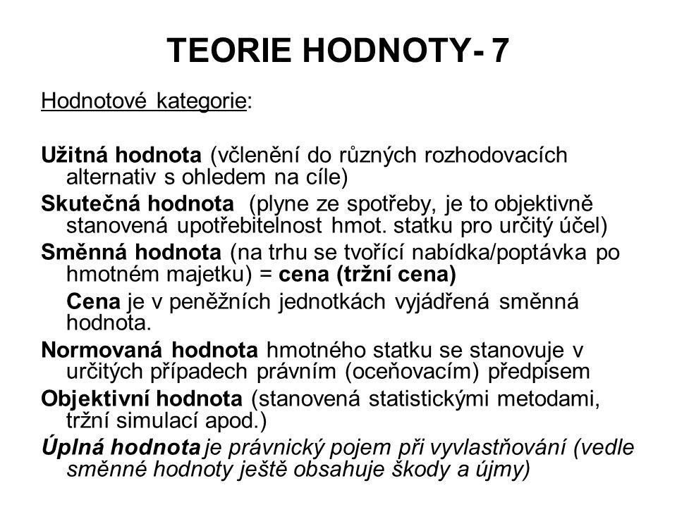 TEORIE HODNOTY- 7 Hodnotové kategorie: Užitná hodnota (včlenění do různých rozhodovacích alternativ s ohledem na cíle) Skutečná hodnota (plyne ze spot