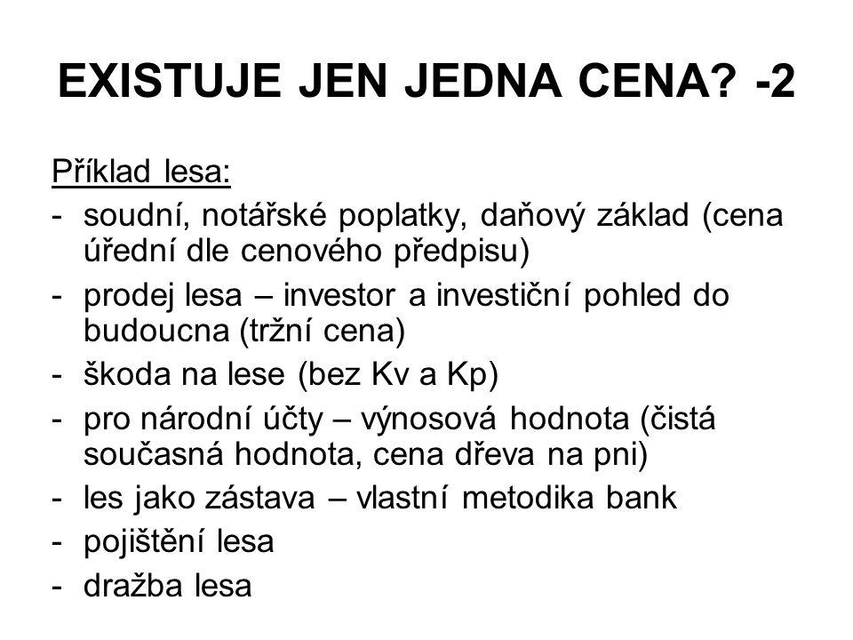 EXISTUJE JEN JEDNA CENA? -2 Příklad lesa: -soudní, notářské poplatky, daňový základ (cena úřední dle cenového předpisu) -prodej lesa – investor a inve