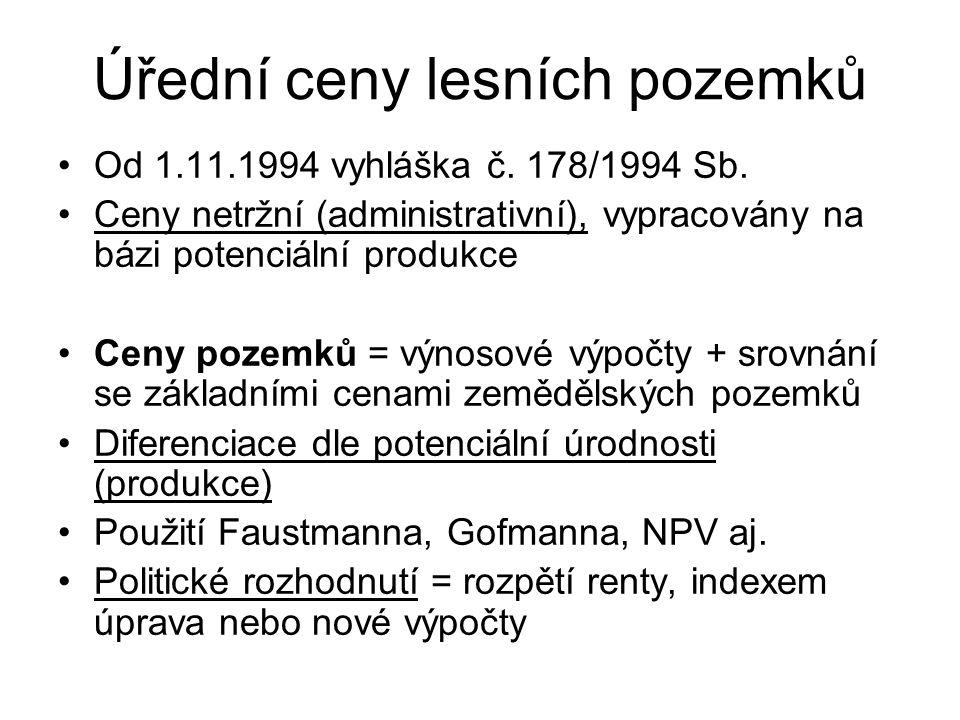 Úřední ceny lesních pozemků Od 1.11.1994 vyhláška č. 178/1994 Sb. Ceny netržní (administrativní), vypracovány na bázi potenciální produkce Ceny pozemk