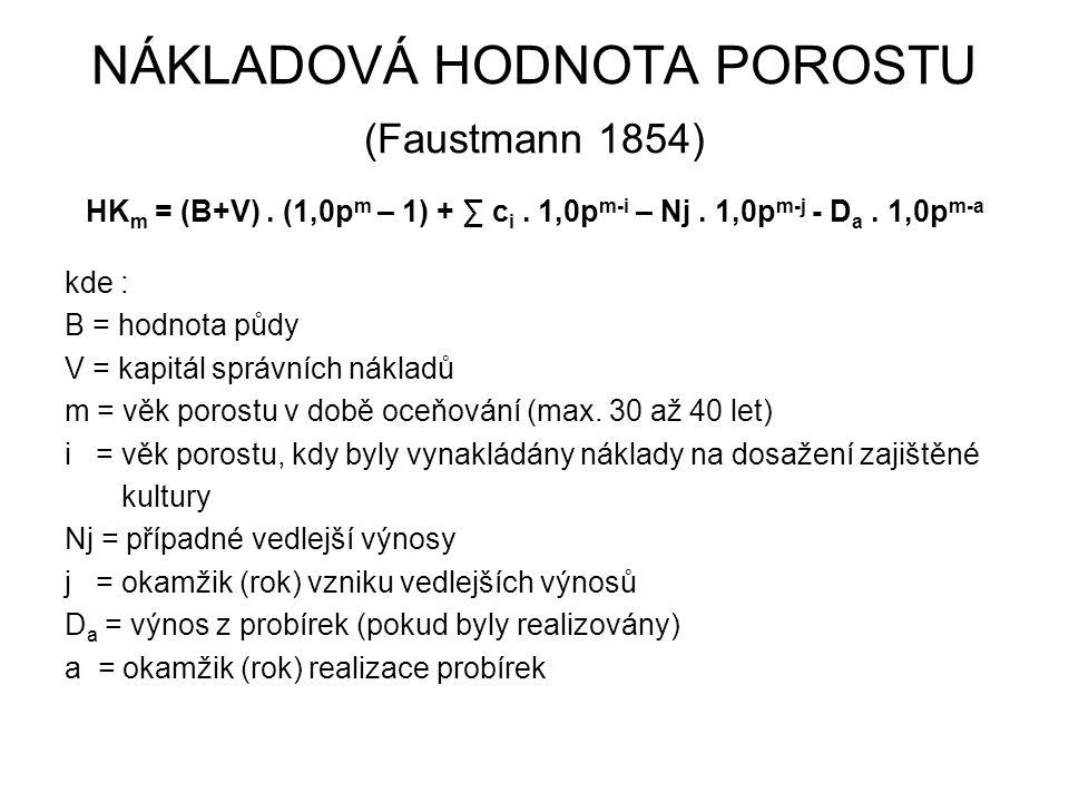 NÁKLADOVÁ HODNOTA POROSTU (Faustmann 1854) HK m = (B+V). (1,0p m – 1) + ∑ c i. 1,0p m-i – Nj. 1,0p m-j - D a. 1,0p m-a kde : B = hodnota půdy V = kapi