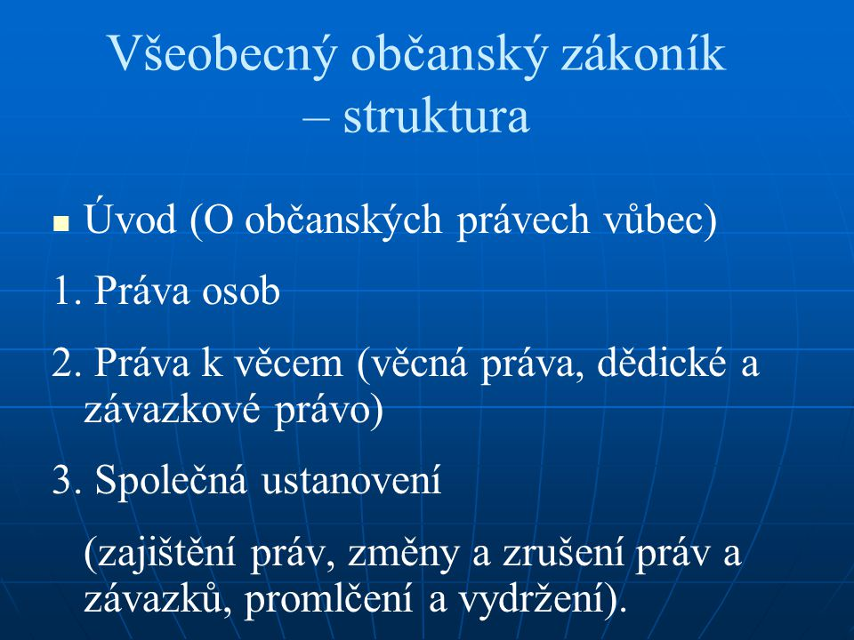 Všeobecný občanský zákoník – struktura Úvod (O občanských právech vůbec) 1.