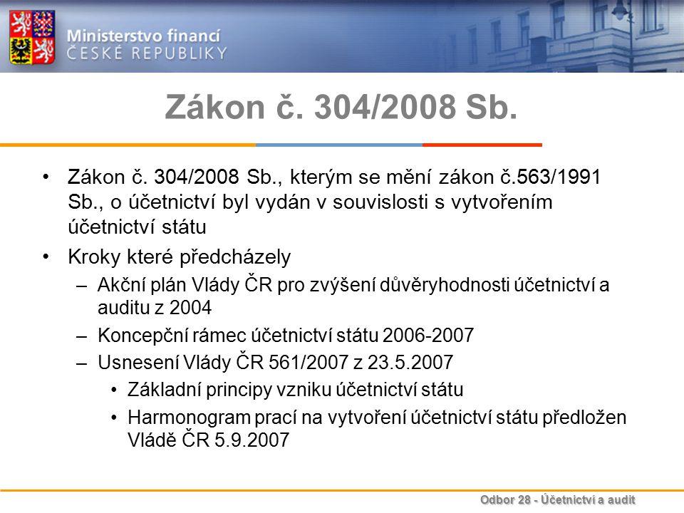 Odbor 28 - Účetnictví a audit Zákon č.304/2008 Sb.