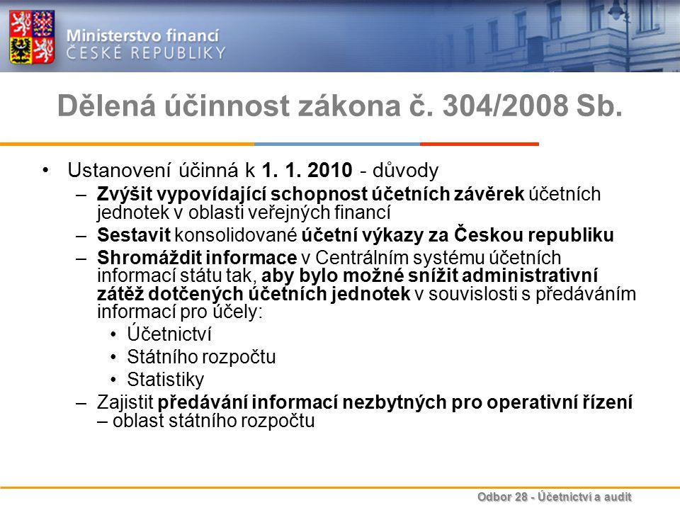 Odbor 28 - Účetnictví a audit Dělená účinnost zákona č.