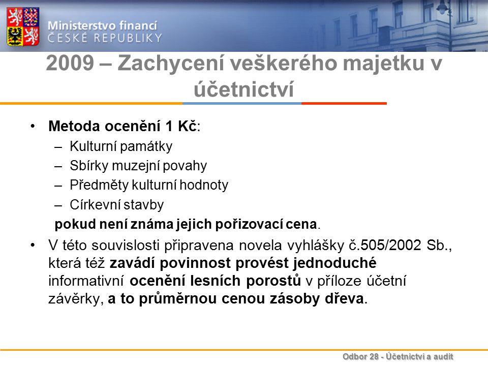 Odbor 28 - Účetnictví a audit 2010 – Vytvoření účetnictví státu Bližší informace k účetní reformě v oblasti veřejných financí: –http://www.mfcr.cz/cps/rde/xchg/mfcr/xsl/dane_ucetni_refo rma_v_oblasti_vf.html