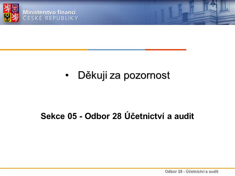 Odbor 28 - Účetnictví a audit Děkuji za pozornostDěkuji za pozornost Sekce 05 - Odbor 28 Účetnictví a audit
