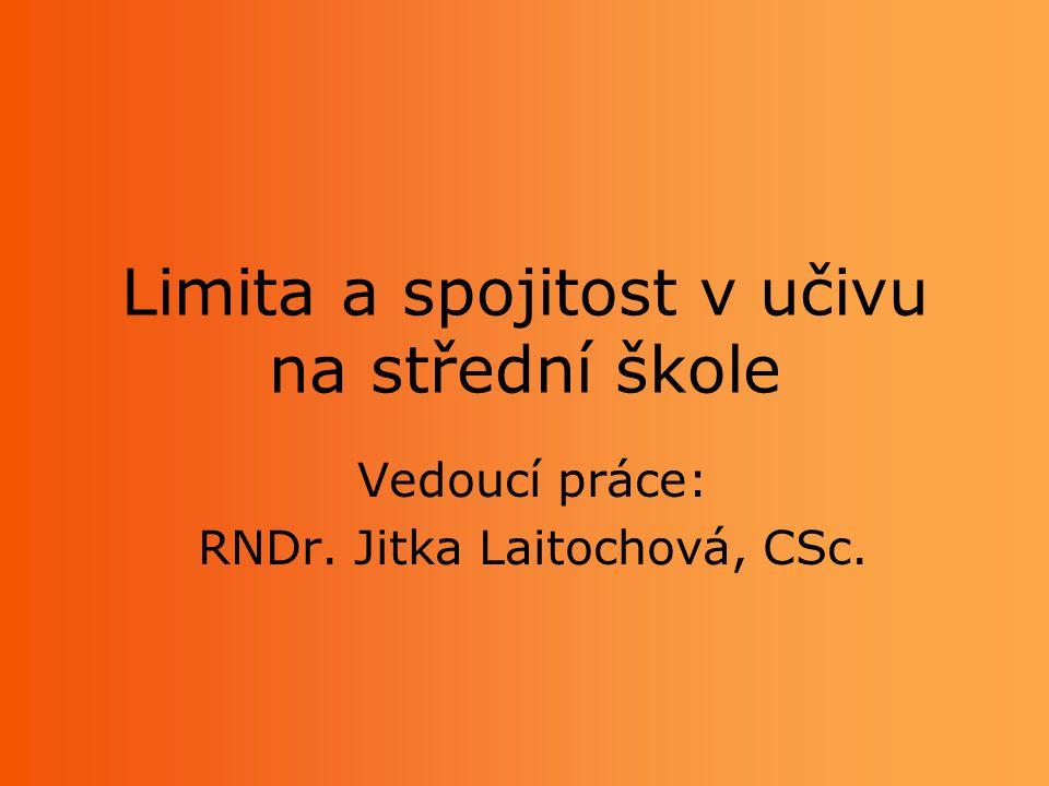 Limita a spojitost v učivu na střední škole Vedoucí práce: RNDr. Jitka Laitochová, CSc.