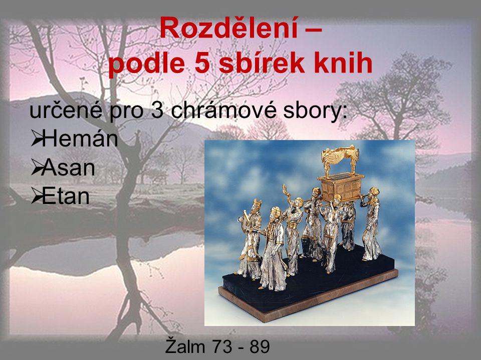 Rozdělení – podle 5 sbírek knih určené pro 3 chrámové sbory:  Hemán  Asan  Etan Žalm 73 - 89