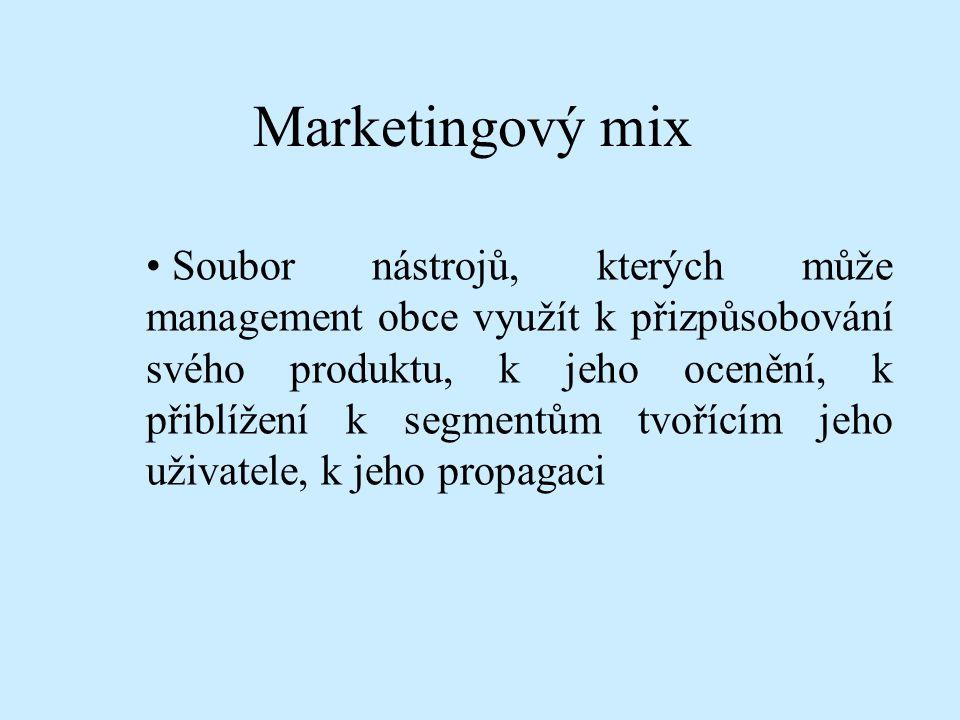 Marketingový mix Soubor nástrojů, kterých může management obce využít k přizpůsobování svého produktu, k jeho ocenění, k přiblížení k segmentům tvoříc