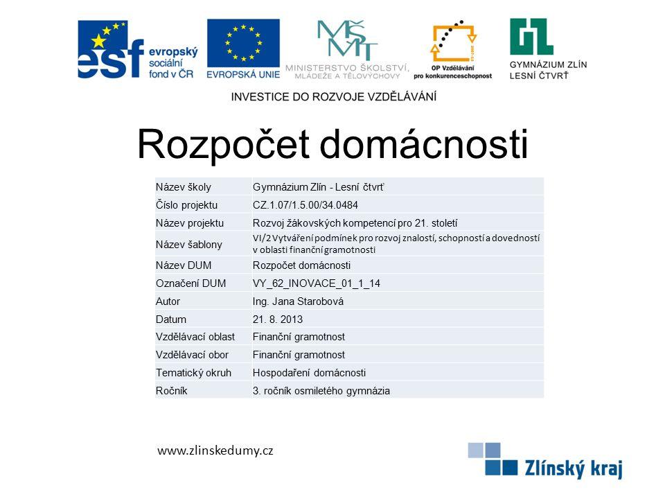 Rozpočet domácnosti www.zlinskedumy.cz Název školyGymnázium Zlín - Lesní čtvrť Číslo projektuCZ.1.07/1.5.00/34.0484 Název projektuRozvoj žákovských kompetencí pro 21.