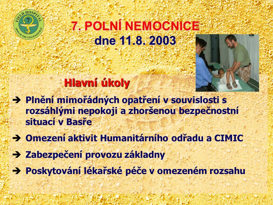 7. POLNÍ NEMOCNICE dne 11.8. 2003 Hlavní úkoly Hlavní úkoly  Plnění mimořádných opatření v souvislosti s rozsáhlými nepokoji a zhoršenou bezpečnostní