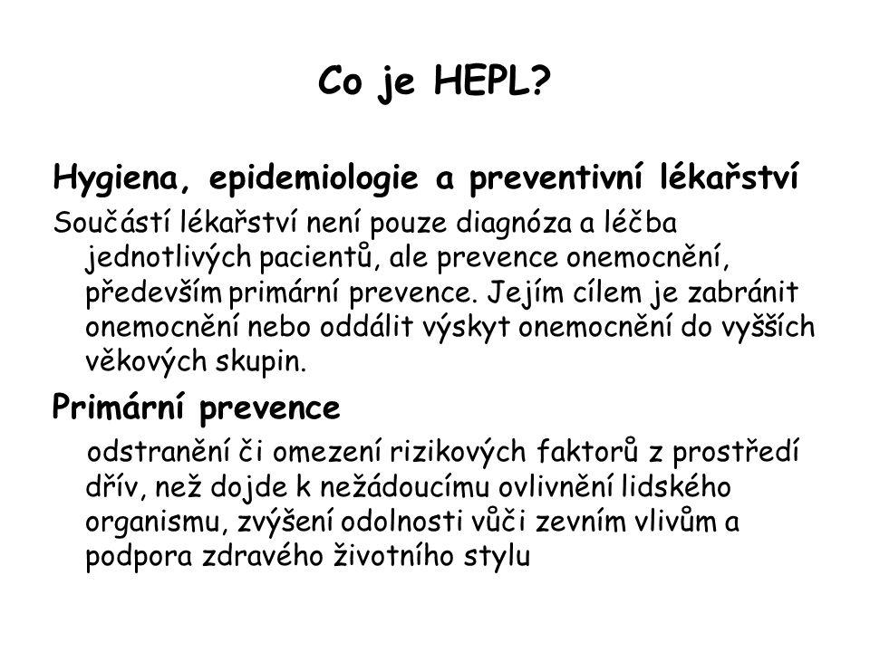 Co je HEPL? Hygiena, epidemiologie a preventivní lékařství Součástí lékařství není pouze diagnóza a léčba jednotlivých pacientů, ale prevence onemocně