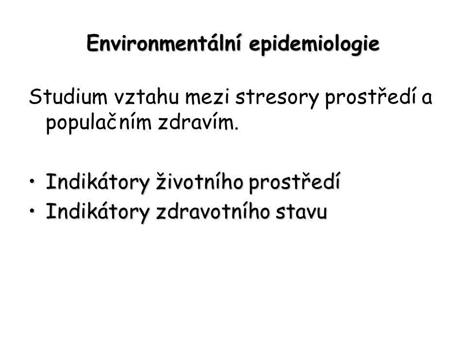 Environmentální epidemiologie Studium vztahu mezi stresory prostředí a populačním zdravím.