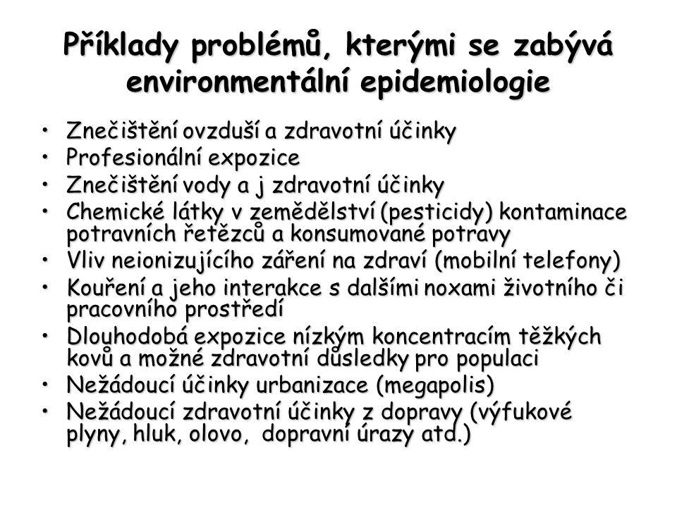 Příklady problémů, kterými se zabývá environmentální epidemiologie Znečištění ovzduší a zdravotní účinkyZnečištění ovzduší a zdravotní účinky Profesionální expoziceProfesionální expozice Znečištění vody a j zdravotní účinkyZnečištění vody a j zdravotní účinky Chemické látky v zemědělství (pesticidy) kontaminace potravních řetězců a konsumované potravyChemické látky v zemědělství (pesticidy) kontaminace potravních řetězců a konsumované potravy Vliv neionizujícího záření na zdraví (mobilní telefony)Vliv neionizujícího záření na zdraví (mobilní telefony) Kouření a jeho interakce s dalšími noxami životního či pracovního prostředíKouření a jeho interakce s dalšími noxami životního či pracovního prostředí Dlouhodobá expozice nízkým koncentracím těžkých kovů a možné zdravotní důsledky pro populaciDlouhodobá expozice nízkým koncentracím těžkých kovů a možné zdravotní důsledky pro populaci Nežádoucí účinky urbanizace (megapolis)Nežádoucí účinky urbanizace (megapolis) Nežádoucí zdravotní účinky z dopravy (výfukové plyny, hluk, olovo, dopravní úrazy atd.)Nežádoucí zdravotní účinky z dopravy (výfukové plyny, hluk, olovo, dopravní úrazy atd.)