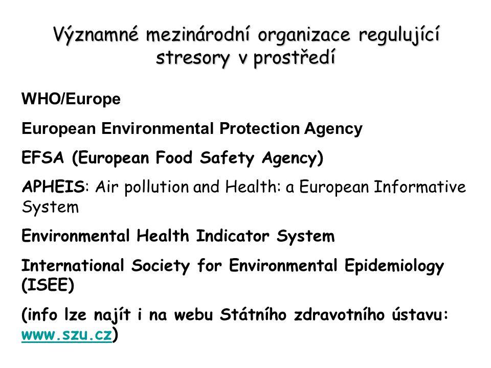 Významné mezinárodní organizace regulující stresory v prostředí WHO/Europe European Environmental Protection Agency EFSA (European Food Safety Agency)