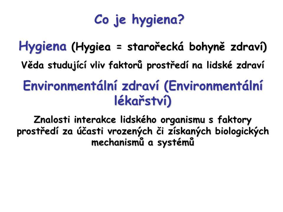Hygiena (Hygiea = starořecká bohyně zdraví) Věda studující vliv faktorů prostředí na lidské zdraví Environmentální zdraví (Environmentální lékařství) Znalosti interakce lidského organismu s faktory prostředí za účasti vrozených či získaných biologických mechanismů a systémů Co je hygiena?