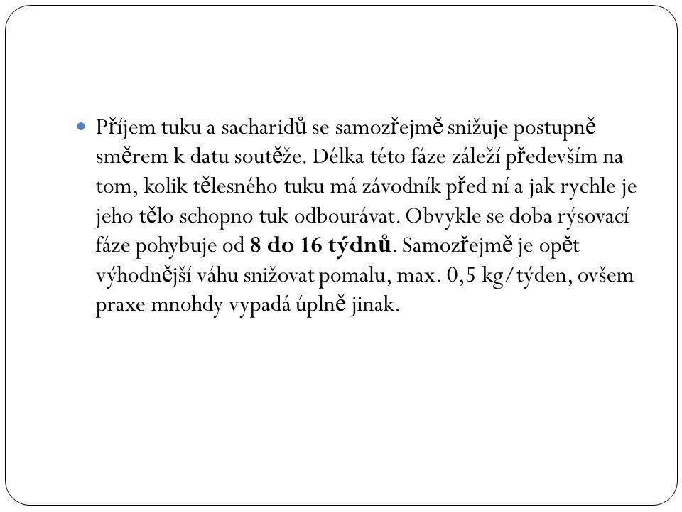 P ř íjem tuku a sacharid ů se samoz ř ejm ě snižuje postupn ě sm ě rem k datu sout ě že.