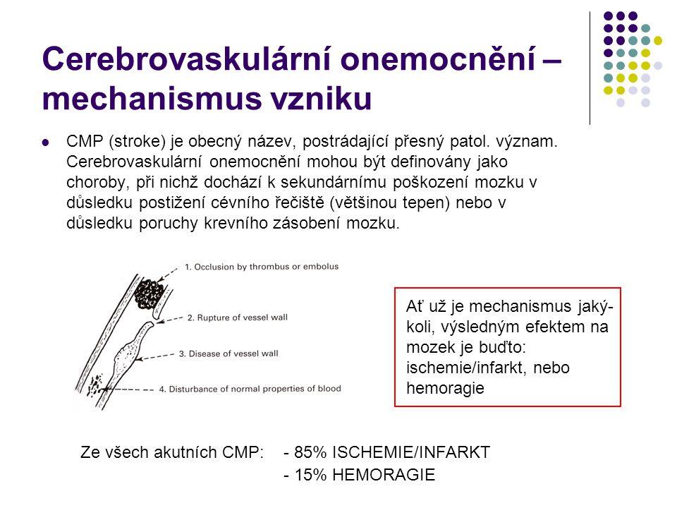 Lakunární infarkt (pokrač.) Čistá motorická hemiplegie (léze v zadním raménku vnitřního pouzdra) – stejně vyjádřená slabost kontralaterálního mimického svalstva, horní a dolní končetiny s dysartrií.