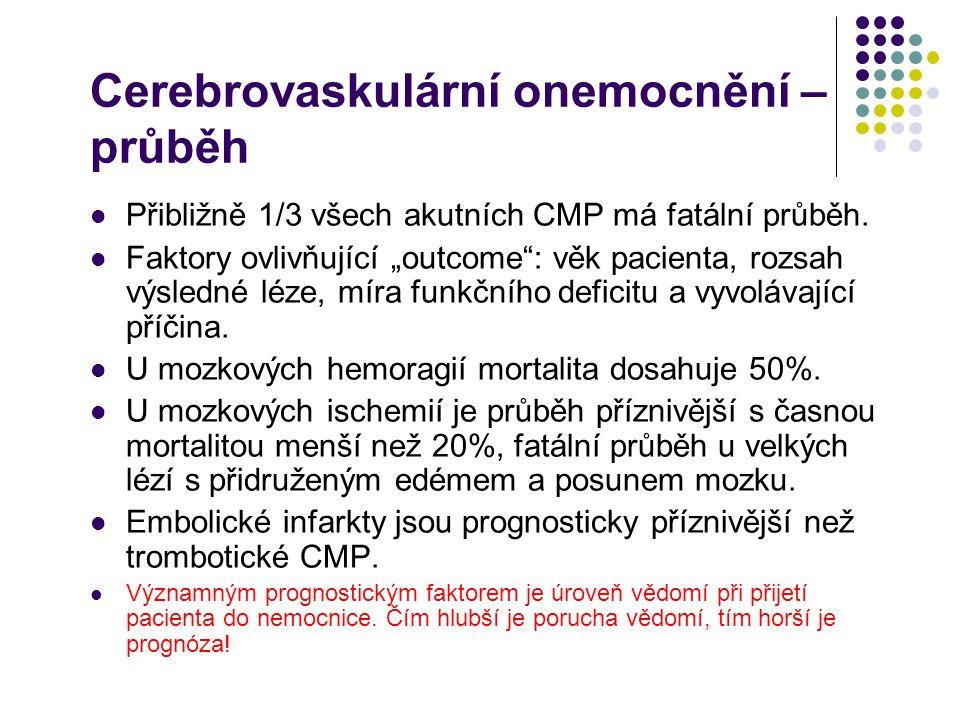 Cerebrovaskulární onemocnění – příčiny Okluze mozkové tepny (50%) Ateromatózně/trombotické postižení 1.